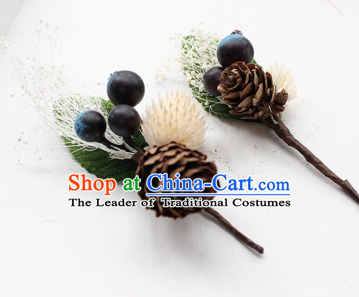 Top Grade Handmade Wedding Bride Hair Accessories Flower Hairpin, Traditional Princess Wedding Brooch for Women