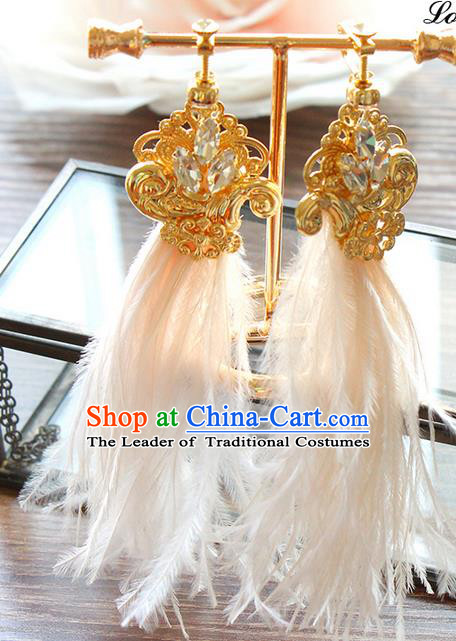 Top Grade Handmade Wedding Bride Earrings, Traditional Princess Baroque Feather Tassel Wedding Accessories Eardrop for Women