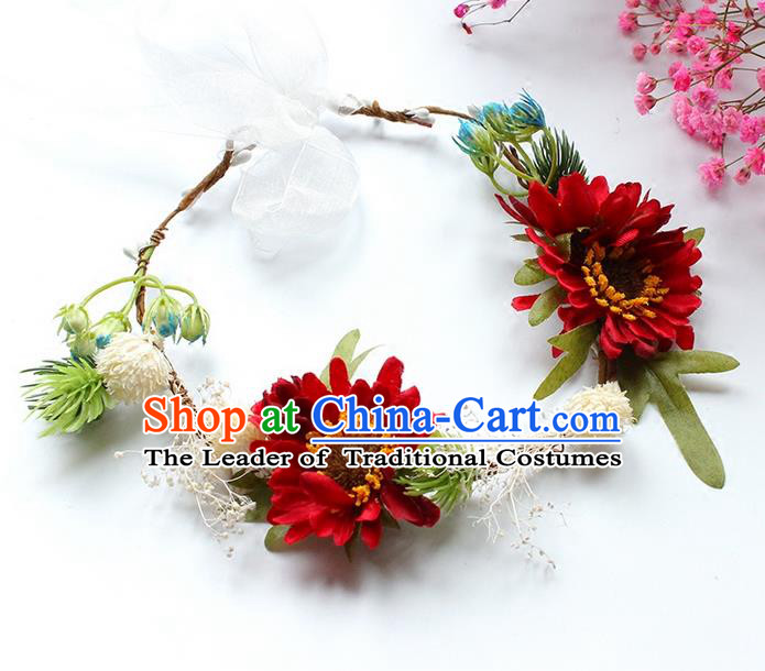 Top Grade Handmade Wedding Bride Hair Accessories Headwear Garland, Traditional Princess Crystal Wedding Red Flowers Headpiece for Women