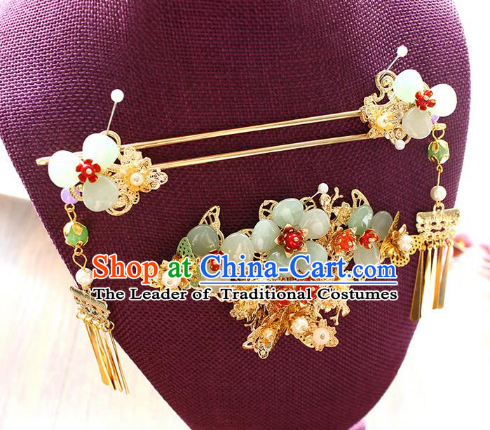 Top Grade Chinese Handmade Wedding Jade Hair Accessories Complete Set, Traditional China Xiuhe Suit Phoenix Coronet Bride Hanfu Tassel Hairpins Headwear for Women