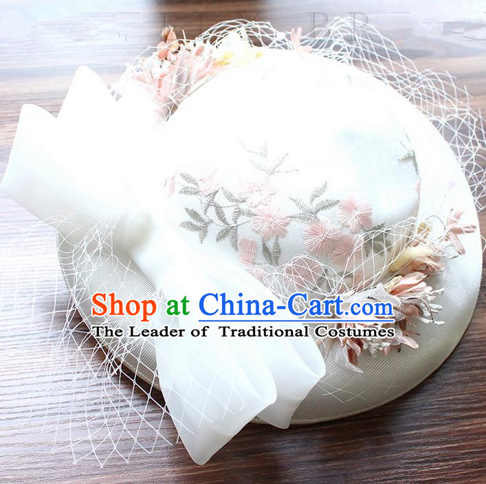 Top Grade Handmade Wedding Bride Hair Accessories Flowers Veil Hat, Traditional Princess Baroque Top Hats Headpiece for Women