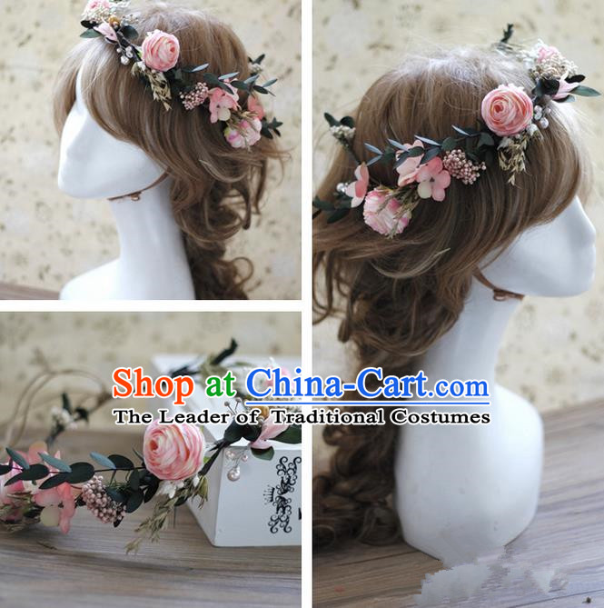 Top Grade Handmade Wedding Bride Hair Accessories Pink Rose Flowers Headwear, Traditional Princess Baroque Hair Stick Headpiece Hairpins Complete Set for Women