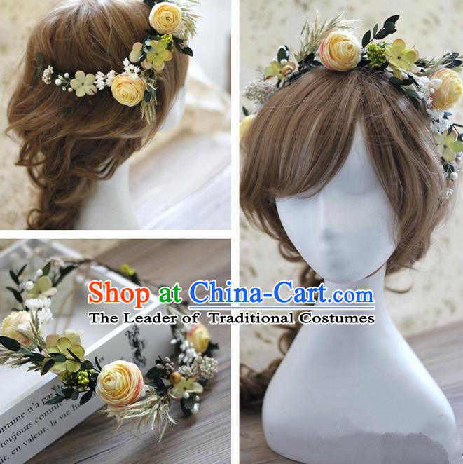 Top Grade Handmade Wedding Bride Hair Accessories Yellow Rose Flowers Headwear, Traditional Princess Baroque Hair Stick Headpiece Hairpins Complete Set for Women