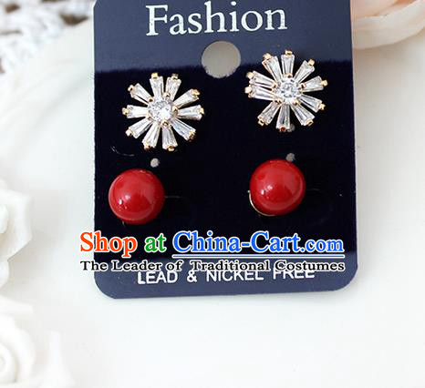 Top Grade Handmade China Wedding Bride Accessories Red Pearl Earrings, Traditional Princess Wedding Crystal Earbob Jewelry for Women