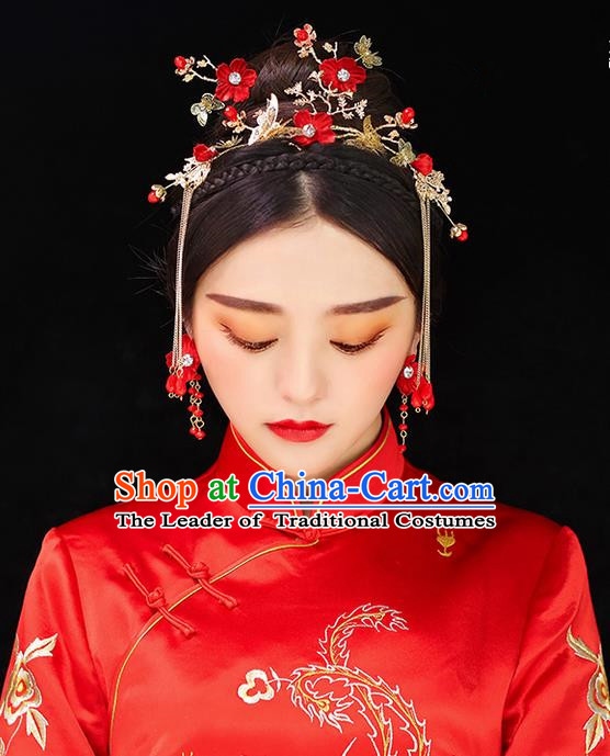 Top Grade Chinese Handmade Wedding Red Flowers Hair Accessories Complete Set, Traditional China Xiuhe Suit Bride Phoenix Coronet Butterfly Tassel Hairpins Headwear for Women
