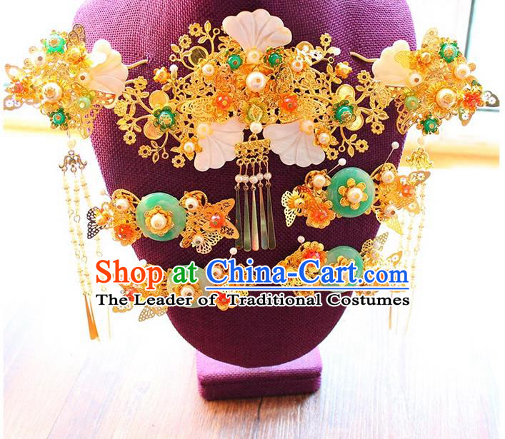 Top Grade Chinese Handmade Wedding Jade Hair Accessories Complete Set, Traditional China Xiuhe Suit Bride Phoenix Coronet Tassel Hairpins Headwear for Women