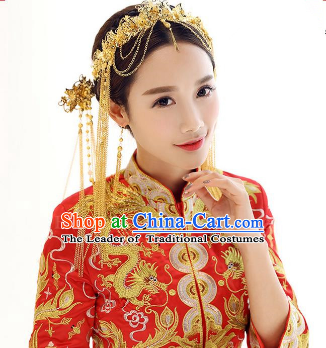 Top Grade Chinese Handmade Wedding Hair Accessories Golden Forehead Ornament, Traditional China Xiuhe Suit Phoenix Coronet Bride Tassel Hairpins Headdress Complete Set for Women