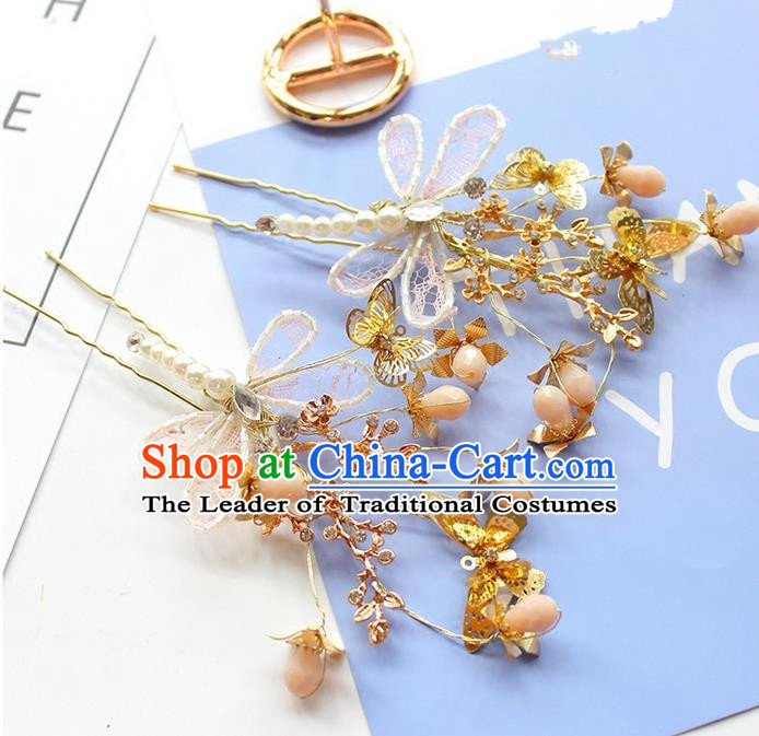 Top Grade Handmade Wedding Bride Hair Accessories Lace Butterfly Hairpins, Traditional Princess Baroque Pearl Hair Stick Headpiece for Women