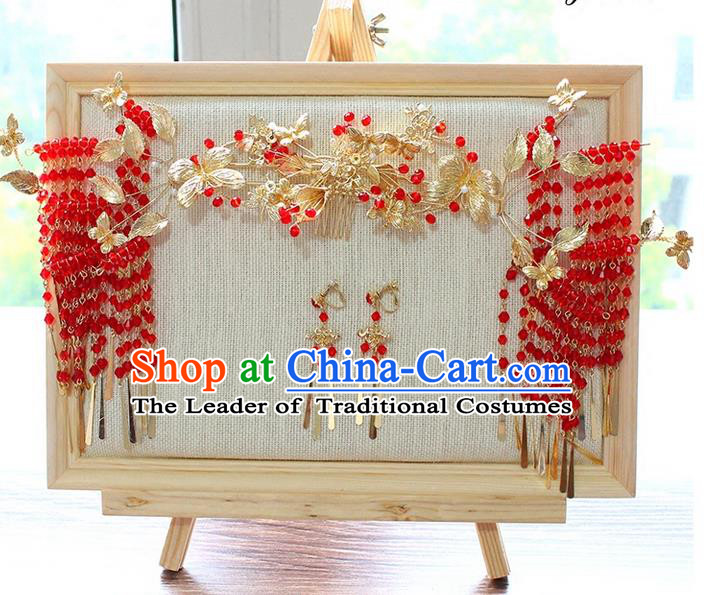 Top Grade Chinese Handmade Wedding Red Beads Hair Accessories Complete Set, Traditional China Xiuhe Suit Step Shake Phoenix Crown Bride Crystal Tassel Hairpins Headdress for Women