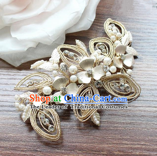 Top Grade Handmade Wedding Bride Hair Accessories Flowers Hair Claw, Traditional Princess Baroque Crystal Hair Stick Headpiece for Women