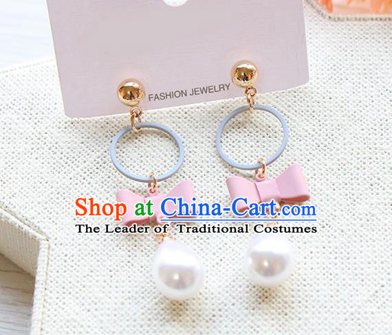 Top Grade Handmade China Wedding Bride Accessories Pearl Earrings, Traditional Princess Wedding Pink Bowknot Eardrop Jewelry for Women