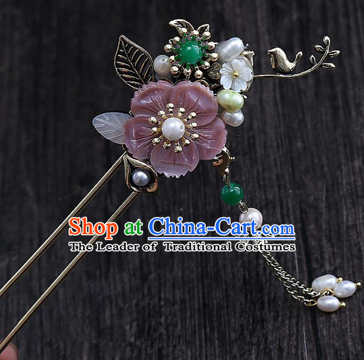 Top Grade Chinese Handmade Wedding Pink Flower Hair Accessories, Traditional China Xiuhe Suit Step Shake Bride Hanfu Tassel Hairpins Headdress for Women