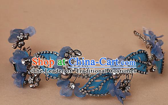 f8c280d7fb5a0 Top Grade Handmade Wedding Bride Hair Accessories Blue Headband Hair Clasp