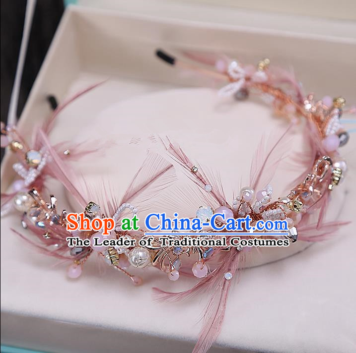 Top Grade Handmade Wedding Bride Hair Accessories Pink Feather Headband Hair Clasp, Traditional Baroque Princess Pearl Hair Stick Headpiece for Women