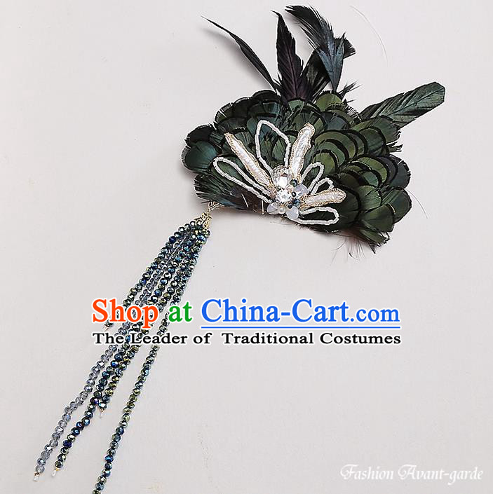 Top Grade Handmade Wedding Bride Hair Accessories Green Feather Hairpin, Traditional Princess Baroque Hair Stick Headpiece for Women