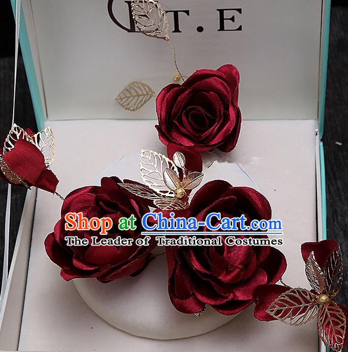 Top Grade Handmade Wedding Bride Hair Accessories Red Rose Flowers Hair Claw, Traditional Baroque Princess Headband Hair Stick Headpiece for Women
