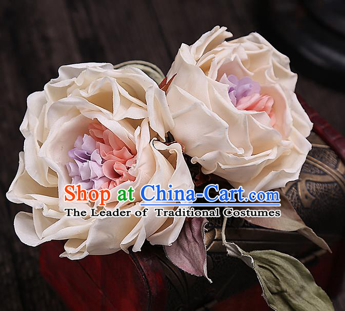 Top Grade Handmade Wedding Bride Hair Accessories Rose Flowers Hairpins, Traditional Baroque Princess Headband Hair Stick Headpiece for Women
