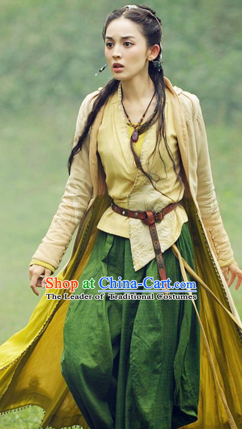Traditional Ancient Chinese National Minority Female Costume, Chinese Ancient Swordswoman Dress Clothing for Women