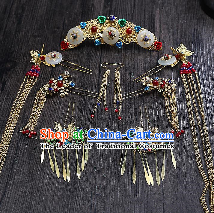 Top Grade Chinese Handmade Wedding Hair Accessories Head Ornament Complete Set, Traditional China Xiuhe Suit Bride Tassel Hairpins Step Shake Headdress for Women