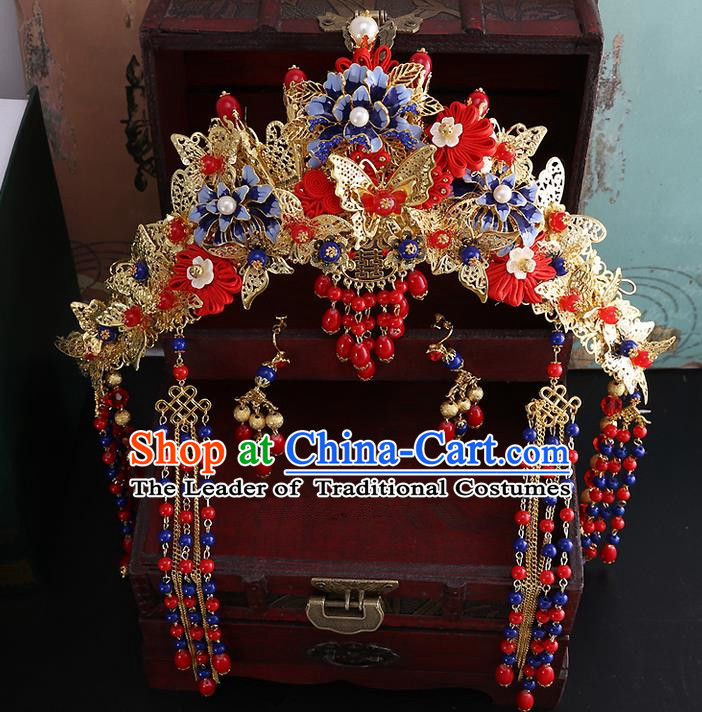 Top Grade Chinese Handmade Wedding Hair Accessories Head Ornament Complete Set, Traditional China Xiuhe Suit Bride Phoenix Coronet Tassel Step Shake Headdress for Women