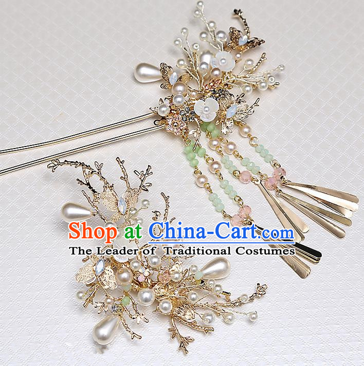 Top Grade Chinese Handmade Wedding Hair Accessories, Traditional China Xiuhe Suit Bride Hairpins Hanfu Tassel Step Shake Headdress for Women