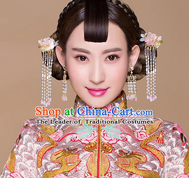 Top Grade Chinese Handmade Wedding Hair Accessories Complete Set, Traditional China Xiuhe Suit Bride Hairpins Hanfu Pink Tassel Step Shake Headdress for Women