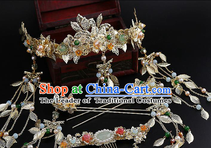 Top Grade Chinese Handmade Wedding Jade Hair Accessories, Traditional China Xiuhe Suit Bride Phoenix Coronet Tassel Headdress Hairpins Complete Set for Women