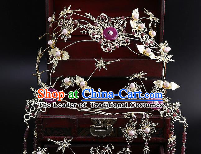 Top Grade Chinese Handmade Wedding Hair Accessories Purple Forehead Ornament, Traditional China Xiuhe Suit Bride Tassel Hairpins Complete Set for Women