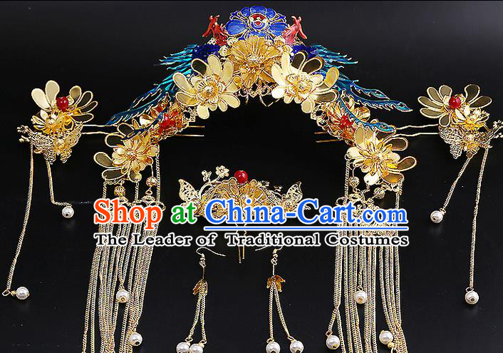 Top Grade Chinese Handmade Wedding Hair Accessories Complete Set, Traditional China Xiuhe Suit Bride Phoenix Coronet Hairpins Hanfu Tassel Headdress for Women