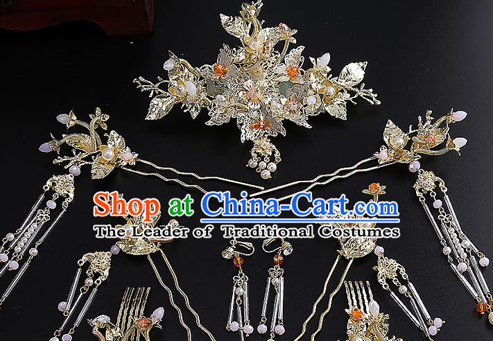 Top Grade Chinese Handmade Wedding Hair Accessories Hairpins Complete Set, Traditional China Xiuhe Suit Bride Phoenix Coronet Hanfu Tassel Headdress for Women