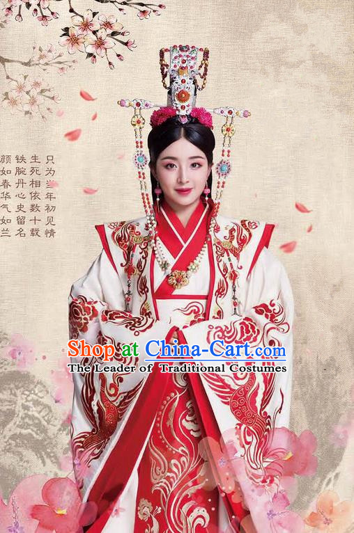 Traditional Ancient Chinese Chunqiu Period Dynasty Imperial Empress Costume and Headpiece Complete Set, Chinese Chong Er Preach Bride Imperial Concubine Embroidered Hanfu Clothing