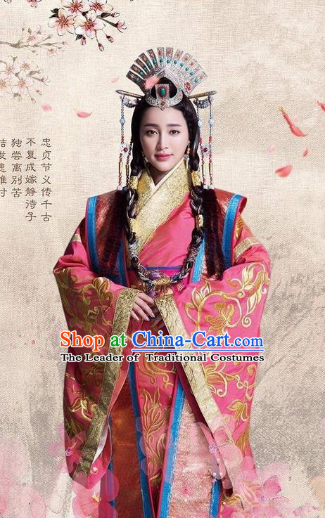 Traditional Ancient Chinese Imperial Princess Costume and Headpiece Complete Set, Chinese Chong Er Preach Chunqiu Period Dynasty Imperial Concubine Embroidered Hanfu Clothing