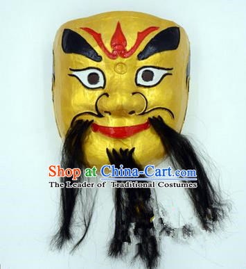 Traditional Chinese Ancient Peking Opera Accessories Mask, Traditional Chinese Beijing Opera God of Wealth Golden Masks