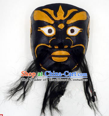 Traditional Chinese Ancient Peking Opera Accessories Mask, Traditional Chinese Beijing Opera God of Wealth Black Masks