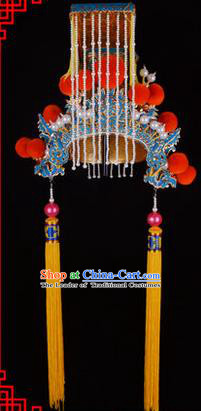 Traditional Chinese Ancient Peking Opera Accessories Jade Emperor Hat, Traditional Chinese Beijing Opera First Emperor of Qin Headwear Crown