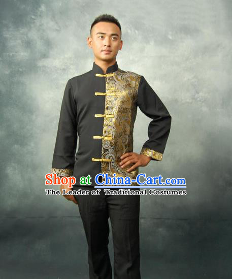 Traditional Traditional Thailand Male Clothing, Southeast Asia Thai Ancient Costumes Dai Nationality Black Blouse for Men