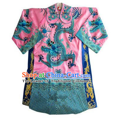 Traditional Chinese Beijing Opera Emperor Clothing, China Peking Opera King Pink Embroidered Dragon Robe Opera Costumes