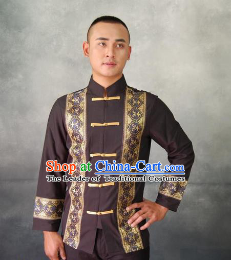 Traditional Traditional Thailand Male Clothing, Southeast Asia Thai Ancient Costumes Dai Nationality Black Shirt for Men