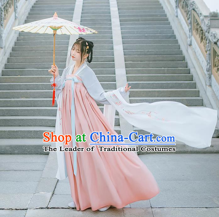 Traditional Chinese Tang Dynasty Young Lady Costume, Elegant Hanfu Clothing Blouse and Ru Skirts, Chinese Ancient Princess Dress for Women