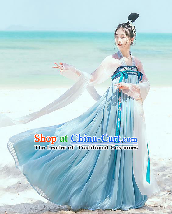 Traditional Chinese Tang Dynasty Palace Lady Costume Complete Set, Elegant Hanfu Clothing Embroidered Butterfly Dress, Chinese Ancient Princess Clothing for Women