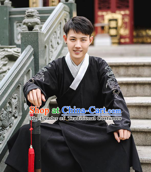 Traditional Chinese Ming Dynasty Young Men Embroidery Costume, Elegant Flying Fish Suit Chinese Ancient Swordsman Clothing for Men