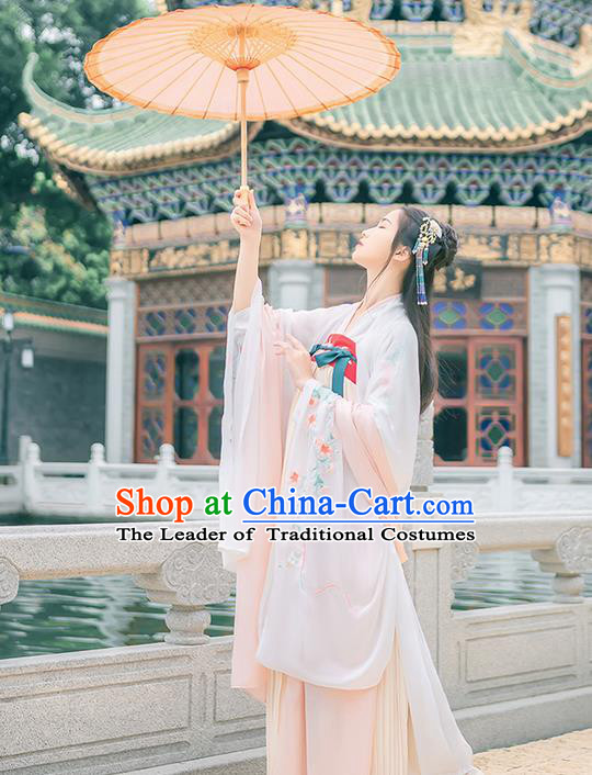 Traditional Chinese Tang Dynasty Young Lady Costume, Elegant Hanfu Clothing Embroidered Wide Sleeve White Cardigan, Chinese Ancient Princess Clothing for Women