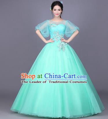 Traditional Chinese Modern Dance Performance Costume, China Opening Dance Full Dress, Classical Dance Blue Bubble Dress for Women