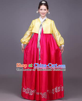Traditional Korean Nationality Dance Costume, Chinese Minority Nationality Korea Ancient Embroidery Hanbok Dress for Women