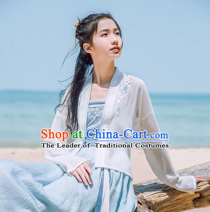Traditional Chinese Tang Dynasty Imperial Princess Embroidery Costume, Elegant Hanfu Clothing Blouse and Skirts Suspenders Complete Set, Chinese Ancient Young Lady Dress for Women
