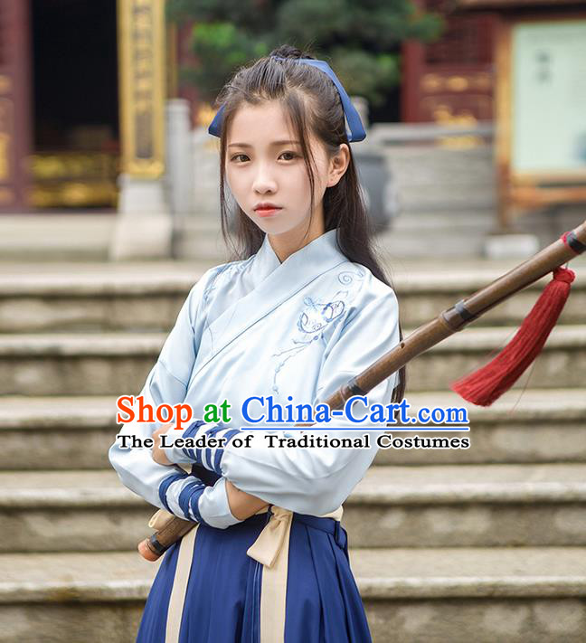 Traditional Chinese Han Dynasty Young Lady Embroidery Costume, Elegant Hanfu Clothing Chinese Ancient Swordsman Dress for Women