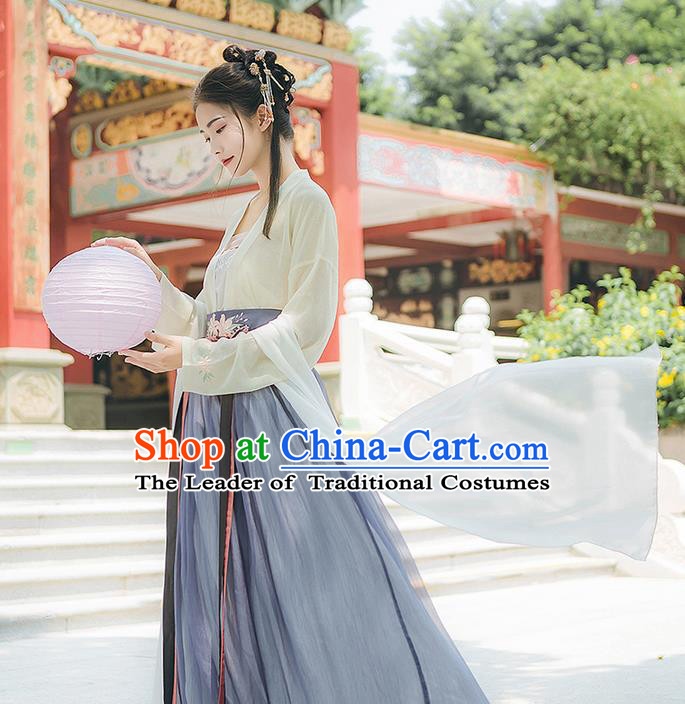 Traditional Chinese Tang Dynasty Young Lady Costume, Elegant Hanfu Clothing Embroidered Cardigan and Skirt, Chinese Ancient Princess Clothing for Women