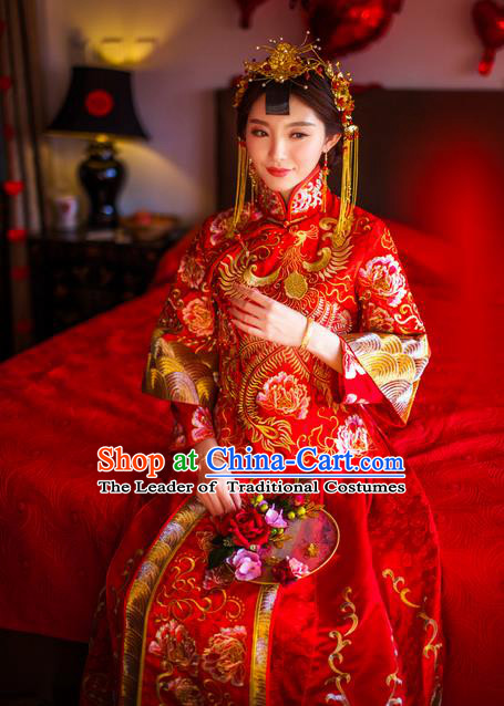 Traditional Chinese Wedding Costume Xiuhe Suits Wedding Bride Red Dress, Ancient Chinese Toast Dress Embroidered Dragon and Phoenix Clothing Longfeng Flown for Women