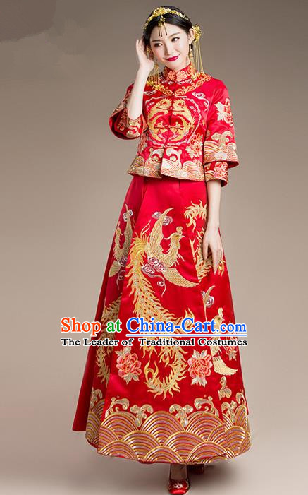 Traditional Chinese Wedding Costume and Headpiece Complete Set, Traditional Xiuhe Suits Wedding Bride Dress, Ancient Chinese Toast Dress Embroidered Peony Dragon and Phoenix Clothing for Women