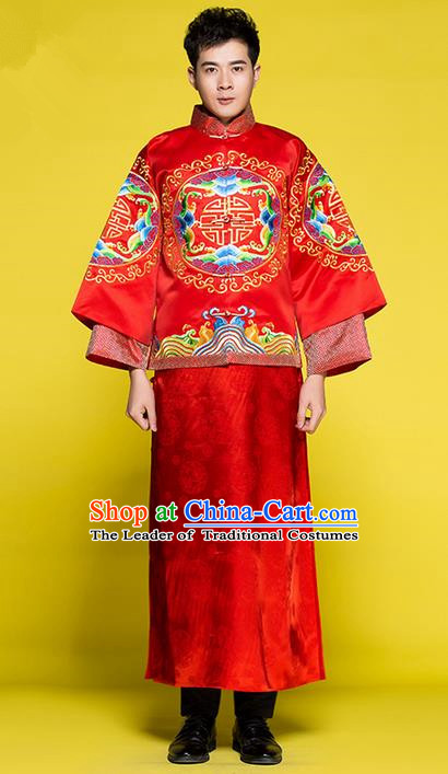 Traditional Chinese Wedding Costume Tang Suits Xiuhe Wedding Red Clothing, Ancient Chinese Bridegroom Toast Embroidered Long Robes for Men